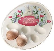 egg plate burton happy easter bunny rabbit egg plate tray