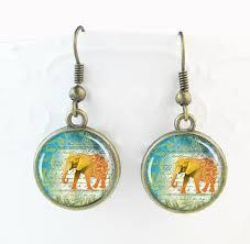 thailand earrings elephant earrings thailand animal jewelry glass dome pendant