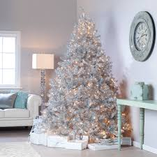 classic silver tinsel pre lit tree with clear