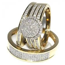 his and hers engagement rings sets his and bridal rings set trio 0 65ct 10k yellow gold halo