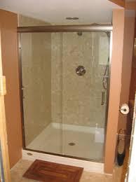 semi frameless bypass shower door with standard edge mounted