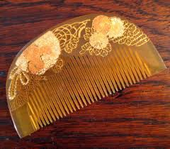 vintage comb vintage japanese honey celluloid geisha hair comb circa 1920 sold