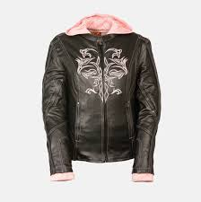 ladies motorcycle jacket black pink leather jacket w tribal detail bikers gear online usa