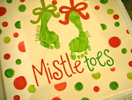mistletoes christmas footprint plate use acrylic enamel paint
