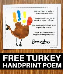 free turkey handprint poem simply kinder