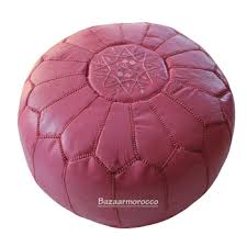 Ottoman Morocco Moroccan Leather Footstool Ottoman Style Pouffe Pouf Pink