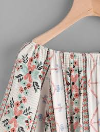 boat neckline tribal print tassel hem blouse shein sheinside