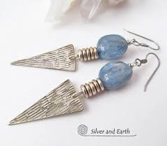 Handcrafted Sterling Silver Jewellery - modern silver earrings with kyanite gemstones bold edgy jewelry