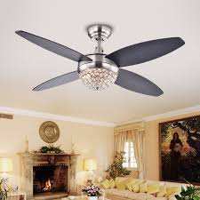 Ceiling Fan With 4 Lights by Harvin 4 Blade 2 Light Wood Satin Nickel Crystal Ceiling Fan