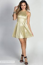 gold party dress serenity metallic gold cage back fit flare halter party