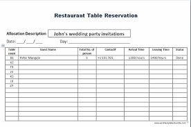 Restaurant Reservation Sheet Template Restaurant Table Reservation Template Formal Word Templates