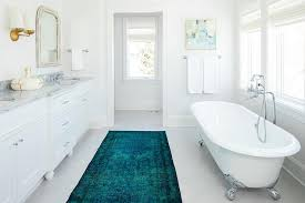 Rug In Bathroom Turquoise Blue Overdyed Rug In White Bathroom Transitional