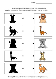 matching shadow with picture brain teaser worksheets 3 projects