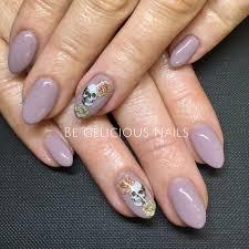 calgel nails gel nail art nail design skulls rose purple