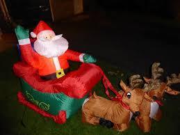 Lighted Santa Sleigh Reindeer Set by Plastic Santa Sleigh And Reindeer Outdoor Decoration Outdoor Designs