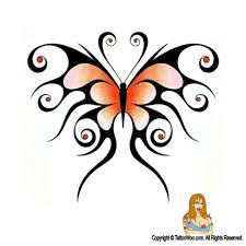 butterfly tribal butterfly pencil and in color