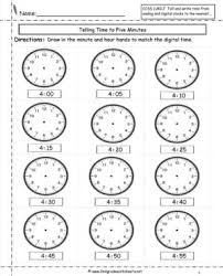 clock worksheets to minute math practice telling time printable