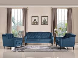 Sofa Set Casa Carly Transitional Blue Velour Sofa Set