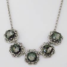 black necklace with crystal images Costume jewelry vintage black diamond crystal necklace jpg