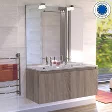 miroir avec applique meuble proline 120 cm avec plan vasque et miroir cambrian oak
