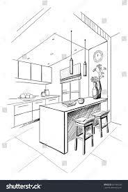 interior sketch modern kitchen island stock vector 621969230