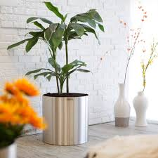 Outdoor Planters Large by Large Round Stainless Steel Blumentopf Planter Hayneedle