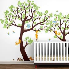 Tree Nursery Wall Decal Pop Decors Lovely Pine Tree Baby Nursery Tree With Animals Wall