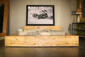 Low Profile Platform Bed Plans by Bedroom Country Queen Bed Frame Which Are Made Of Reclaimed Wood