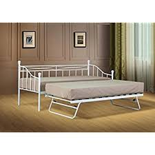 3ft single white paris metal daybed with trundle amazon co uk