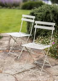 Steel Bistro Chairs Set Of 2 Bistro Chairs In Clay Steel Garden Trading