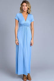 solid short sleeve maxi dress light blue blue chic boutique