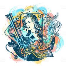 revolver playing cards beautiful bomb tattoo art casino