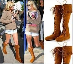 womens cat boots nz womens lace up faux suede tassles slouchy boho fringe mid