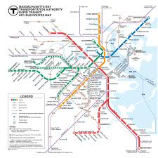 Back Bay Boston Map by Official Map Mbta Rapid Transit Key Bus Routes Transit Maps