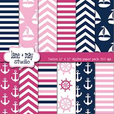 pink and navy blue nautical digital scrapbook papers by may