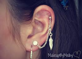 earrings with chain ear cartilage diy chain earring cartilage to lobe chain