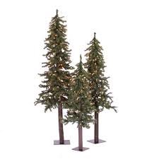 set of 3 rustic alpine artificial trees unlit