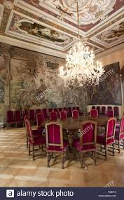 Large Dining Room With Chandelier In St Emmeram Castle In - Castle dining room
