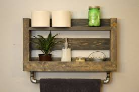 Wooden Shelves For Bathroom Minimalist Design Ideas Using Rectangular Brown Wooden Wall