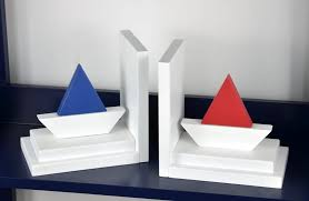 european style sailing bookend creative wooden painted craft desk