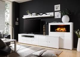 Wohnzimmerschrank Ohne Tv Wohnwand In Weiss Hochglanz Mit Elektrokamin Woody 16 00496 Holz