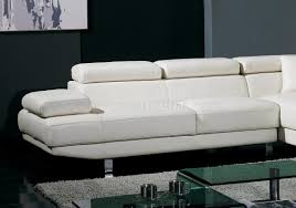 White Leather Sectional Sofas White Leather Sectional Sofa W Adjustable Headrests U0026 Arm