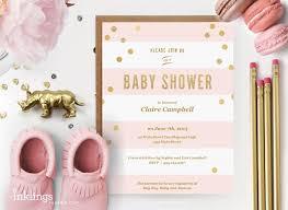 printable baby shower invitations printable baby shower invitation pink stripes with gold dots