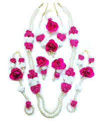 flower jewellery floret jewellery white pink flower jewellery set with 2 necklaces