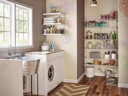 flooring laundry room design with floating shelves and laundry