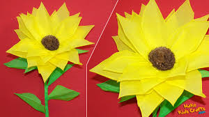 how to make a tissue paper sunflower diy youtube
