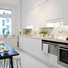 scandinavian kitchen style also painted brick backsplash in white