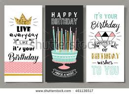 set birthday greeting cards design stock vector 457262263