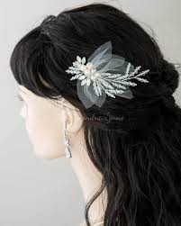 bridal hair clip bridal hair clip of crystals pearls and tulle lynne