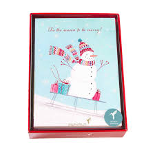 boxed christmas cards sledding snowman boxed cards set of 14 s papeterie